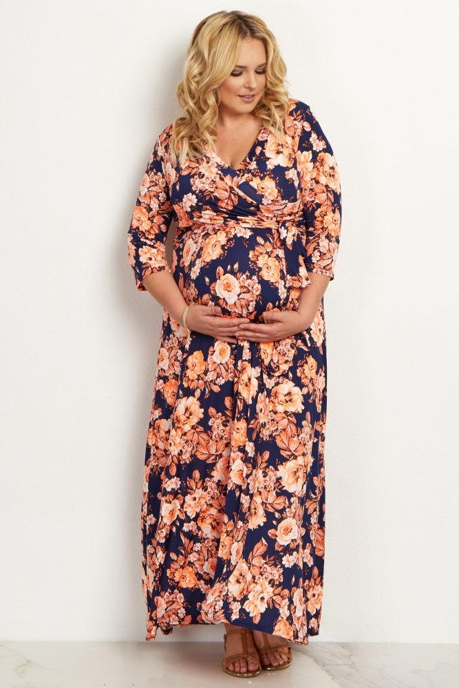 Maxi dresses are not only stylish, but comfortable and this floral draped plus size maternity dress will guarantee a comfortable and cool look this warm season. This dress is perfect for all of life's transitions, from showing off your bump during pregnancy to nursing after pregnancy easy with a v-neckline. Dress it up or down as you please for a gorgeous ensemble.