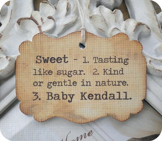 Marvelous Personalized Vintage Sweet Definition Baby Shower Favor Tags   Vintage  Inspired   Cottage Chic   Set