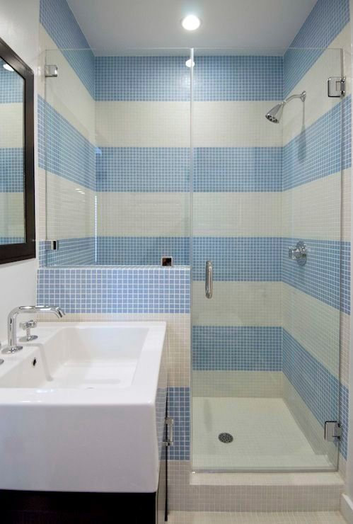 Summer bathroom style: Blue - white   tile stripes represent fresh water and holiday.