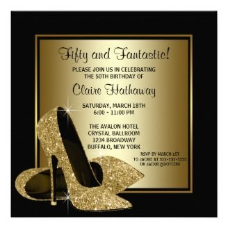 Black Gold High Heels Womans Birthday Party Announcement Zazzle_invitation on www.doonidesigns.com  Elegant black and gold glitter high heel shoes woman's 30th 40th 50th 60th 70th 75th birthday party invitations. This elegant black and gold birthday party invitation is easily customized for your party or event