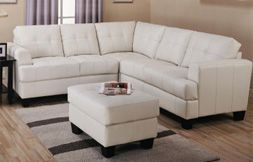 Sacramento White Cream Leather Sectional Sofa with Left Facing Chaise at GoWFB.ca | Free Shipping