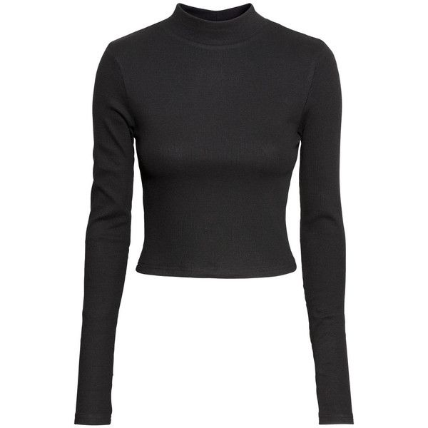 H&M Short Turtleneck Top $7.99 ($7.99) ❤ liked on Polyvore featuring tops, h&m tops, turtle neck top, ribbed turtleneck, ribbed top and ribbed long sleeve top
