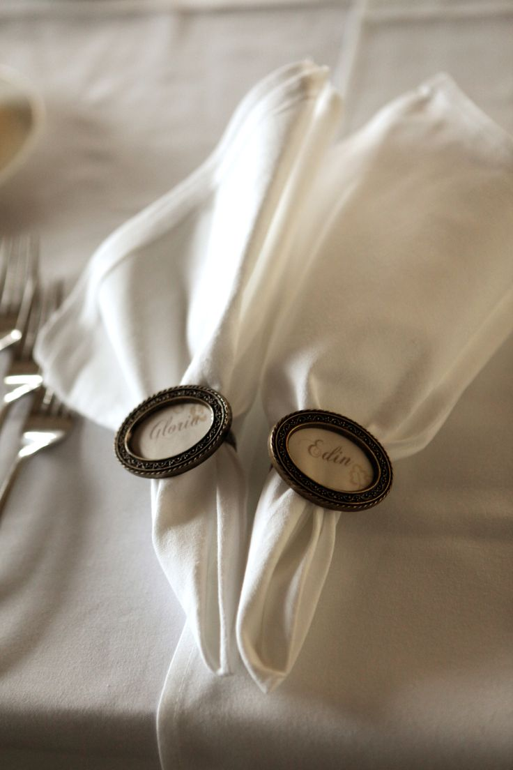 Napkin rings makes a great name setting and as a gift to your guests