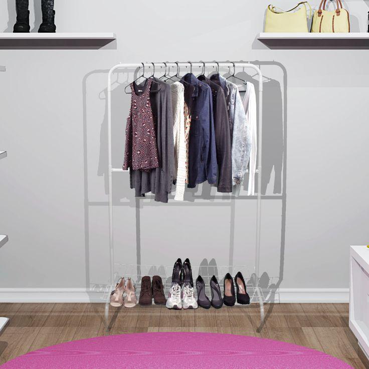 Araras para Roupas Closet Dupla com Sapateira - Organize sua Casa - organizeshop