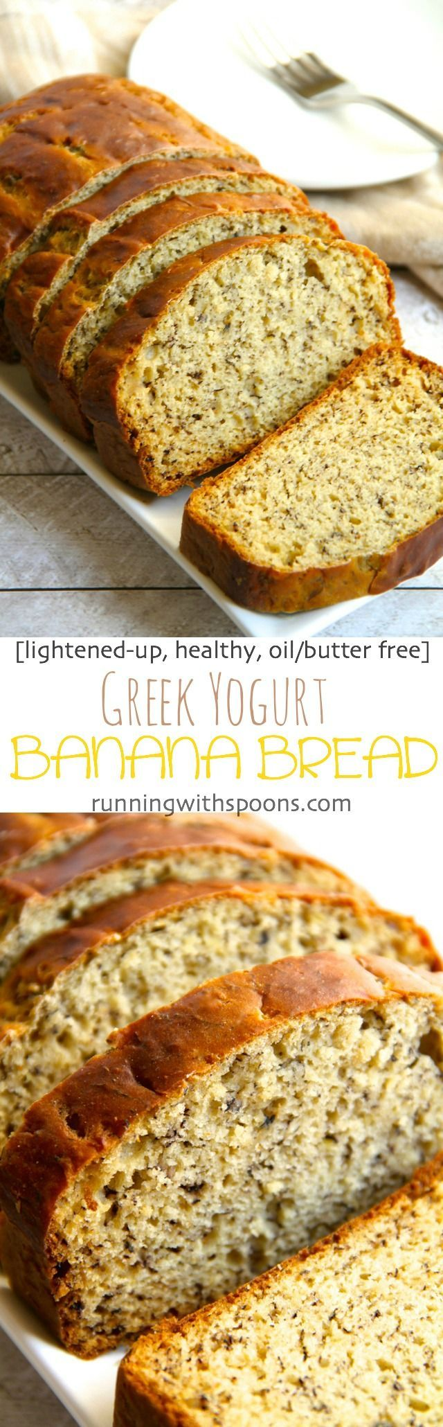 Greek Yogurt Banana Bread -- so soft and tender that you'd never be able to tell…