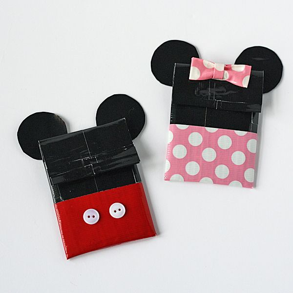 Duct Tape Crafts | Duct Tape Mickey & Minnie Gift Card Holders by @Amanda Formaro Crafts ...