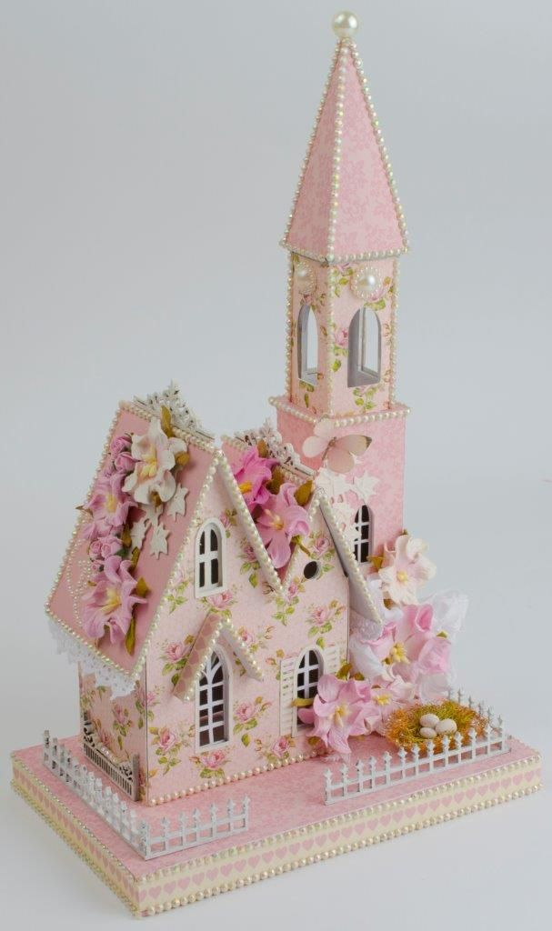Tara's Craft Studio ~ a pink doll house made from chip board, paper, and adorable extras!