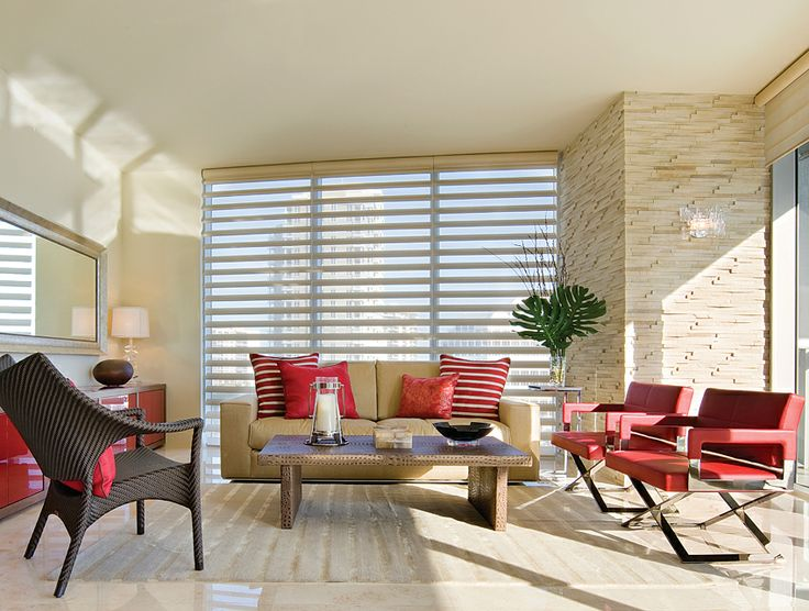Modern living is enhanced with these beautiful Luxaflex® Pirouette® Shadings. Creating a dramatic statement to tall windows