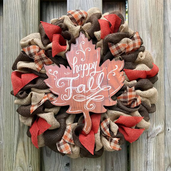 Country Fall Wreath 22 Plaid Fall Decor Happy Fall