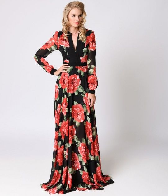 Try to pop your eyes back in, gals! Breathtaking and billowy, this chiffon 1970s maxi dress will sweep through any season glamorously. A plunging princess seamed neckline has hidden hook closures for modesty, with button cuffed sheer long sleeves and a ba