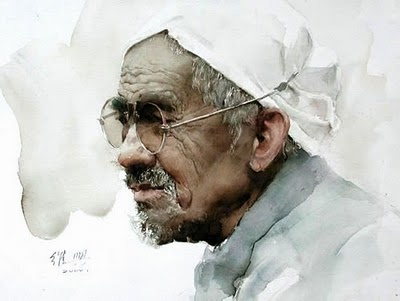 guan weixing watercolor | Old man from Shanxi - Watercolor