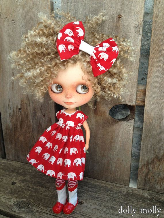 dolly molly ELEPHANTS dress and bow for BLYTHE doll by dollymolly