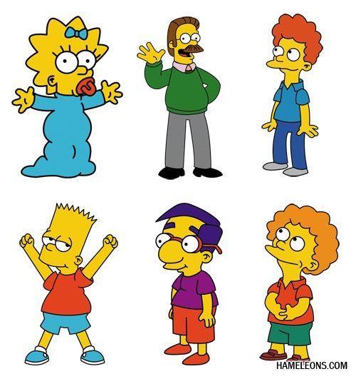 Симпсоны - герои мультфильма в векторе