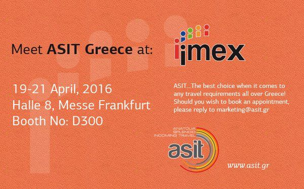 Tomorrow IMEX in Frankfurt opens its gates!IMEX is the efficient,one-stop-shop for planners looking to book and organise worldwide meetings,events and incentive travel programmes.For all of us in the meetings industry,this is the show to attend!ASIT will be there with Thessaloniki Convention Bureau.We are looking forward to welcome you at D300/Halle 8!