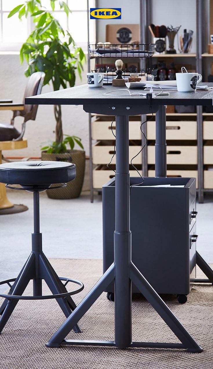 IDÅSEN Desk sit/stand black, dark grey Home office
