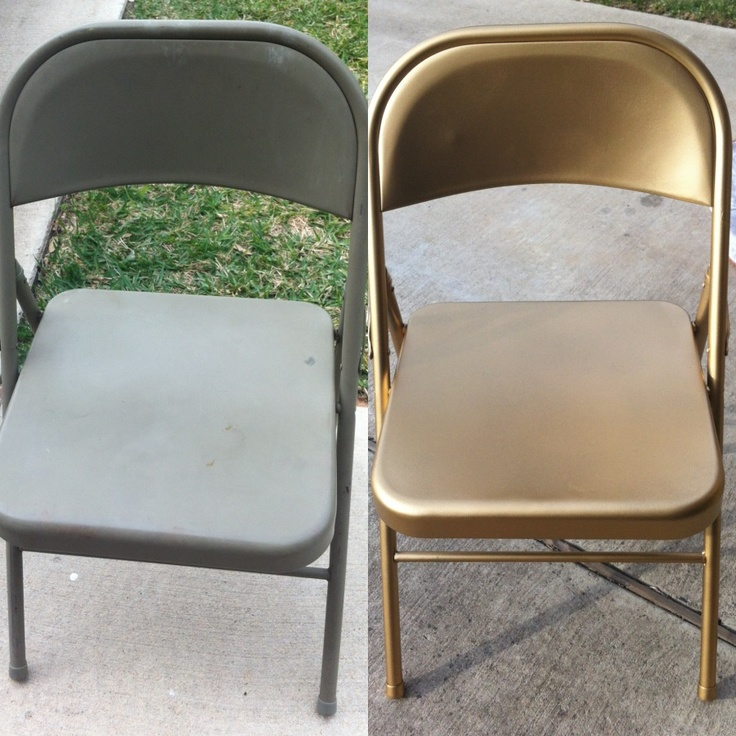 Clean Chairs With Soapy Sponge And Dry 2.) (optional) Use Spray Primer 3.)  Spray Paint 4.) Spray Sealant Spray Spray Paint Used: Krylon Craft In Gold  ...