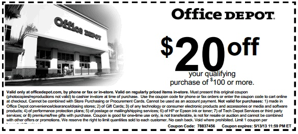 Save $20 OFF with this Office Depot Printable Coupon