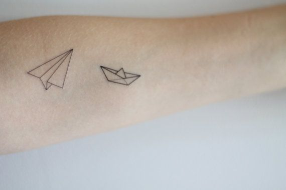 Awesome temporary tattoos! Paper Boat and Airplane Temporary Tattoo Set by LionHeadDesigns, $4.00