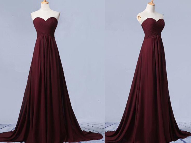 Beautiful Simple Sweetheart Maroon Long Chiffon Prom Dress, Simple Prom Dresses 2016, Bridesmaid Dresses