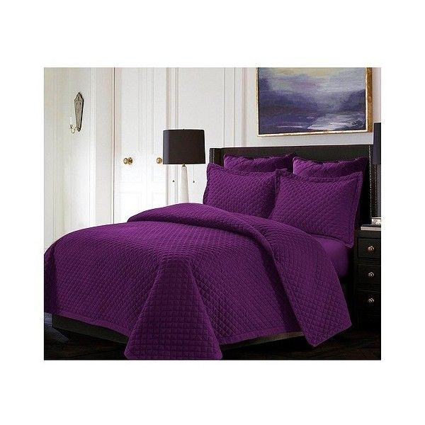 Purple Brisbane Solid Oversized Diamond Quilt Set (£87) ❤ liked on Polyvore featuring home, bed & bath, bedding, quilts, purple, oversized bedding, microfiber bedding, purple twin bedding, twin bed linens and diamond bedding