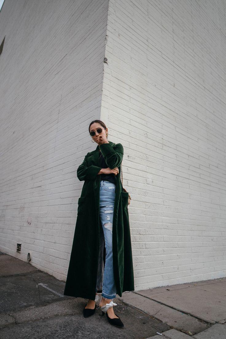 Velvet Duster Coat With Boyfriend tee | Song of Style