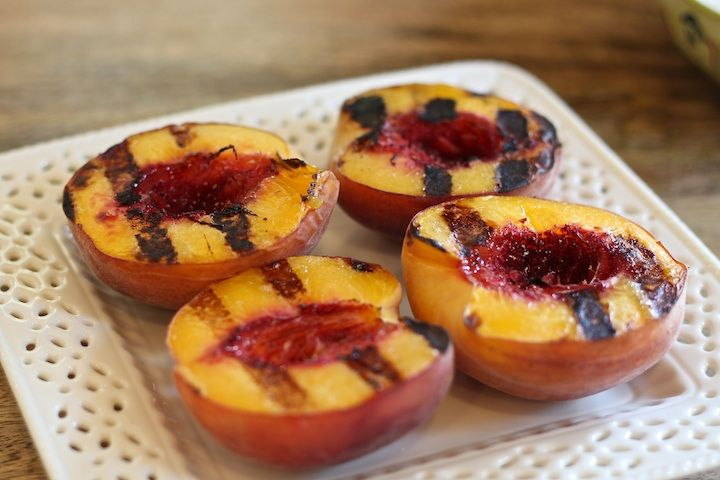 Grilled Peaches with Mascarpone from The Organic Kitchen