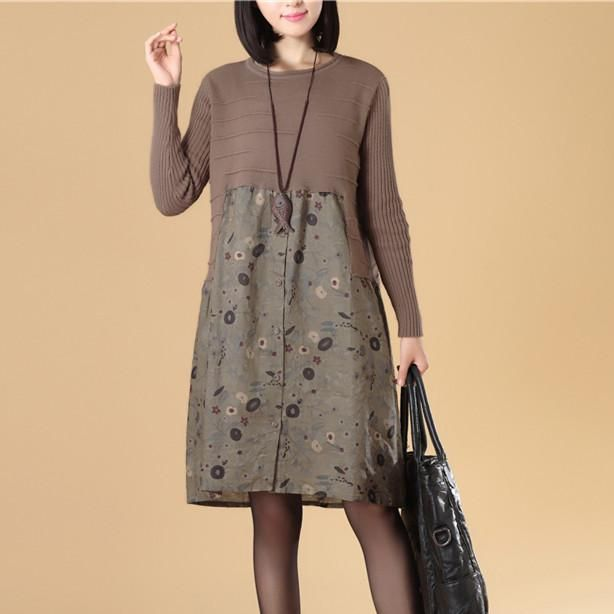 Graceful Women Autumn Patchwork Printing Coffee Knitted Sweater Dress - Buykud