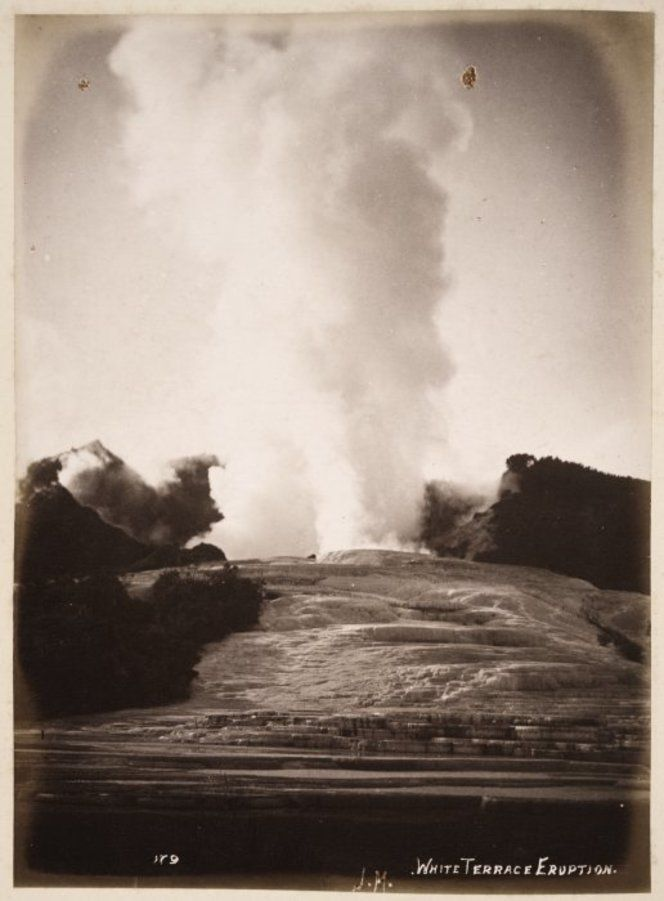 Geyser eruption on the White Terrace, Lake Rotomahana, New Zealand. Photographed by Josiah Martin on the 22nd of November 1885.