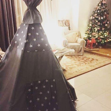 In #christmasmood with a #teepeelicious #teepee #teepeelicious_happy_moments #christmastree #grey #stars #handmade #madeingreece #realhouse #tipi #giftidea #kidsinterior