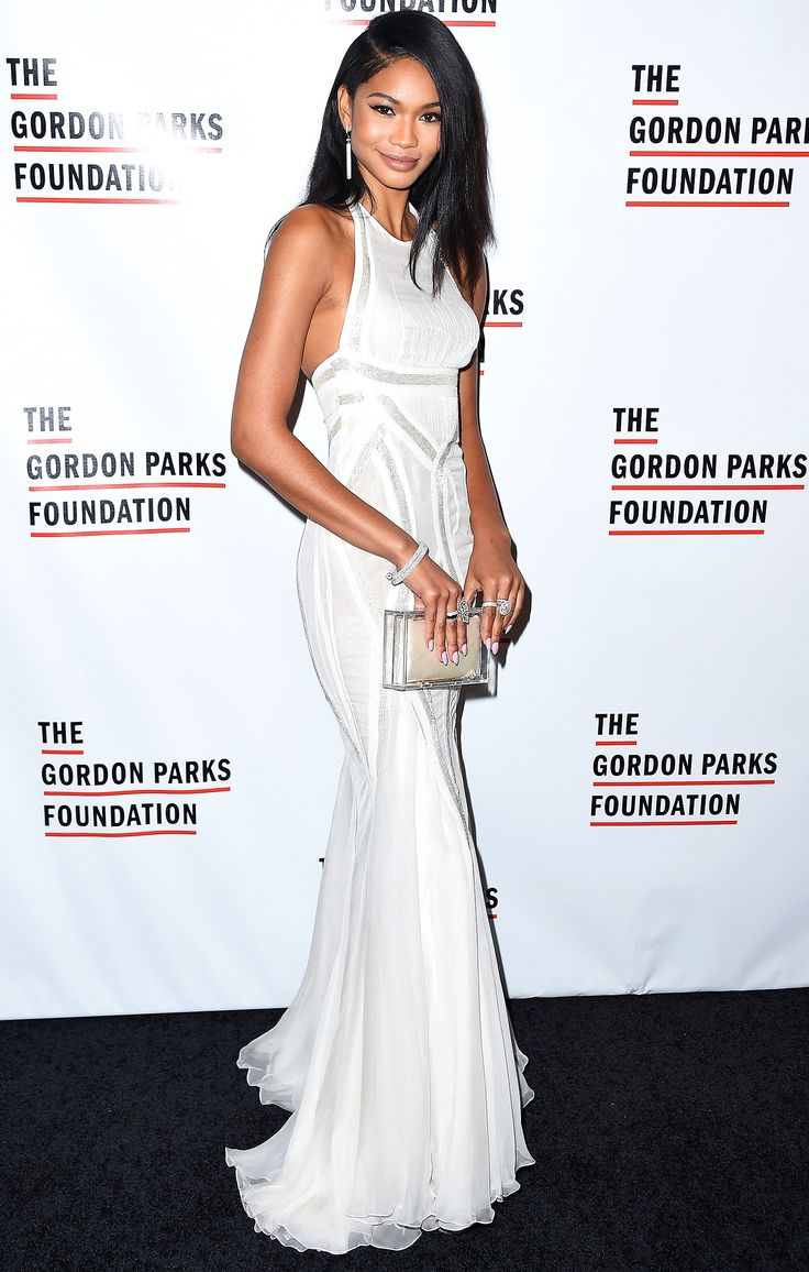 The dress is chanel - Chanel Iman Is Lovely In A White Versace Gown The Dress Is Beautiful The