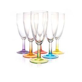 Set Champagneglazen 14cl, met gekleurde voeten