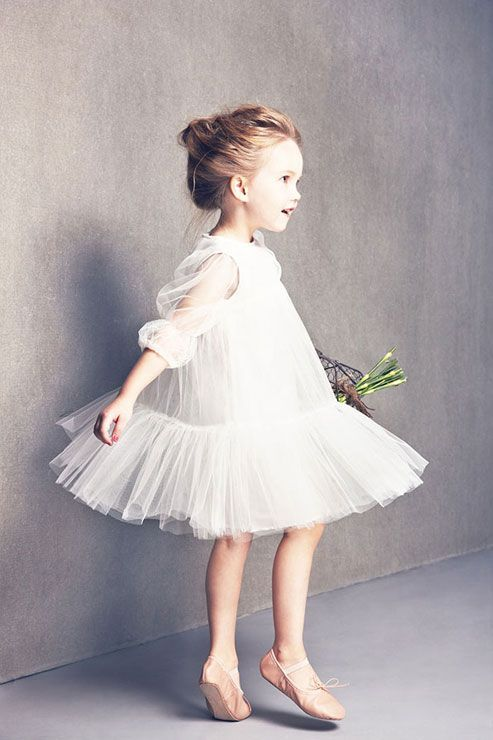 """Alice"" tulle layer tier dress with balloon sleeves in white, NELLY STELLA"