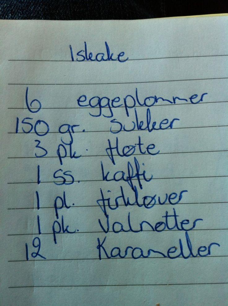 Min gode venninne Ingeborg kom på besøk og hadde med seg en av de beste iskakene jeg har smakt! Kan serveres som dessert, til kaffe eller ...