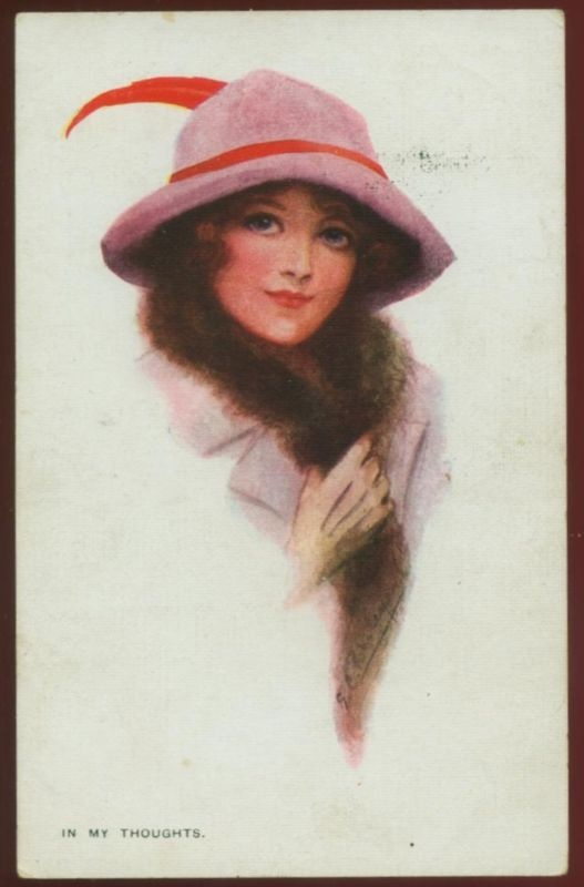 Gorgeous Bailey postcard of a fashionable lady with fur collar and red feather in her hat, postmarked 1911
