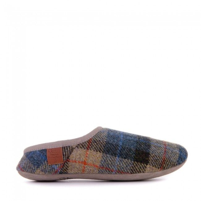 Henry - Harris Tweed Moroccan Mule Slippers - Natural / Navy Check - Side