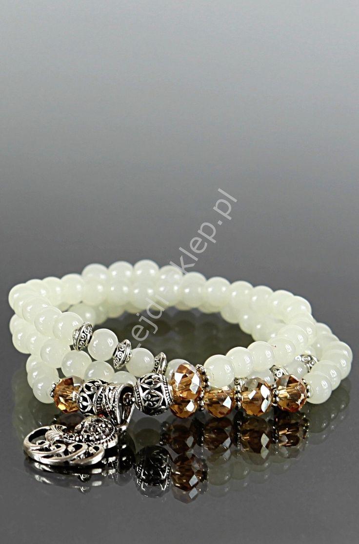 White bracelet..Bransoletka lub naszyjnik z cyrkoniową rybką oraz koralikami swarovskiego www.lejdi.pl