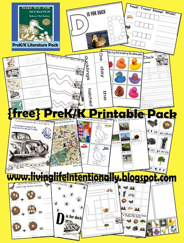 Worksheets for kids - Make Way for Duckling pireK-2nd grade