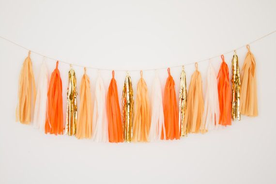 Orange and Gold Tassel Garland Banner Orange Party by BlushBazaar