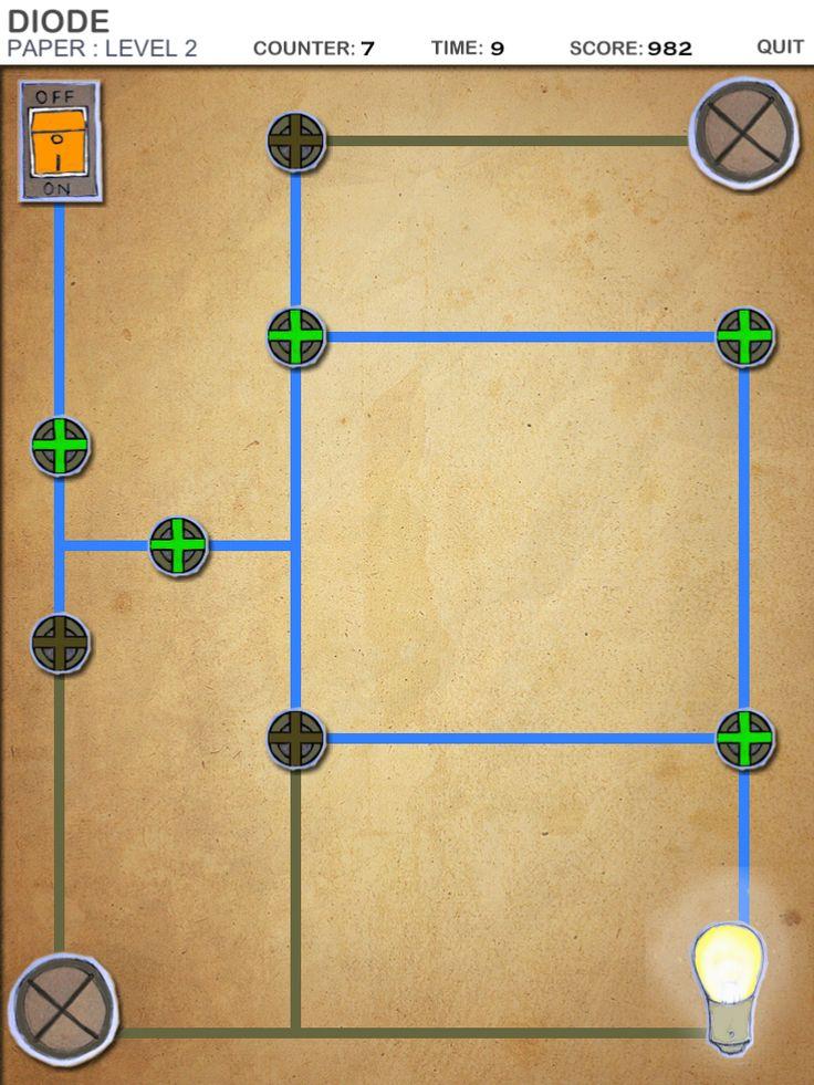 Diode är en klurig app där det gäller att få strömmen att flöda rätt för att lysa upp en eller flera glödlampor.