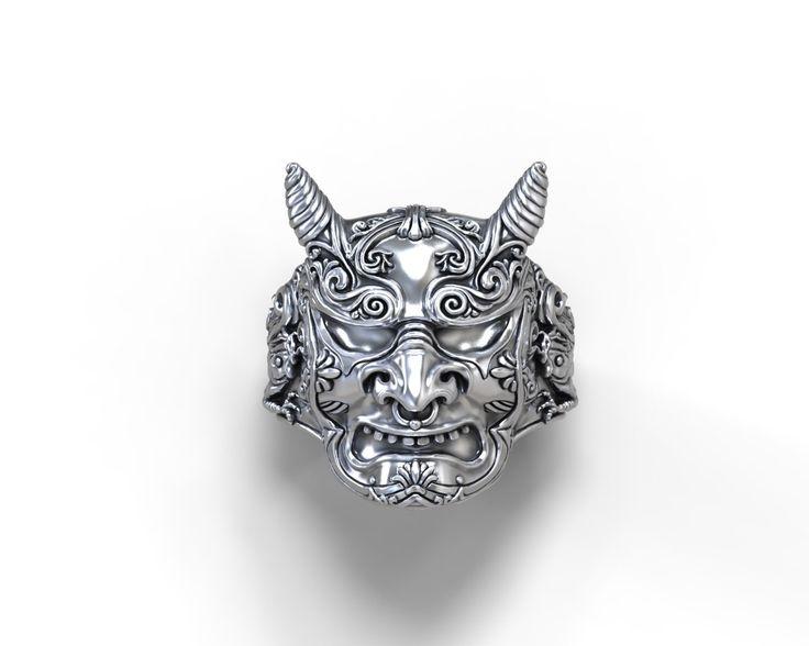 Hannya demonio anillo - plata, oro, paladio, platino de GreyWolfJewellery en Etsy https://www.etsy.com/es/listing/493211737/hannya-demonio-anillo-plata-oro-paladio