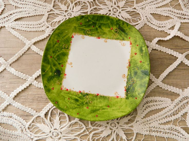 Green Christmassy serving dish.