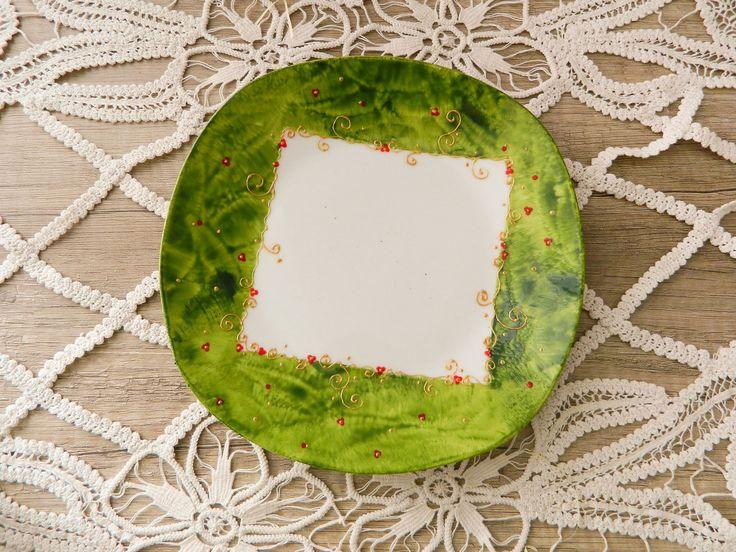 Green Christmassy serving dish.
