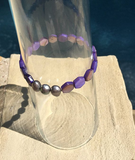 Purple Shell Beads with Black Fresh Water Pearls Stretchy