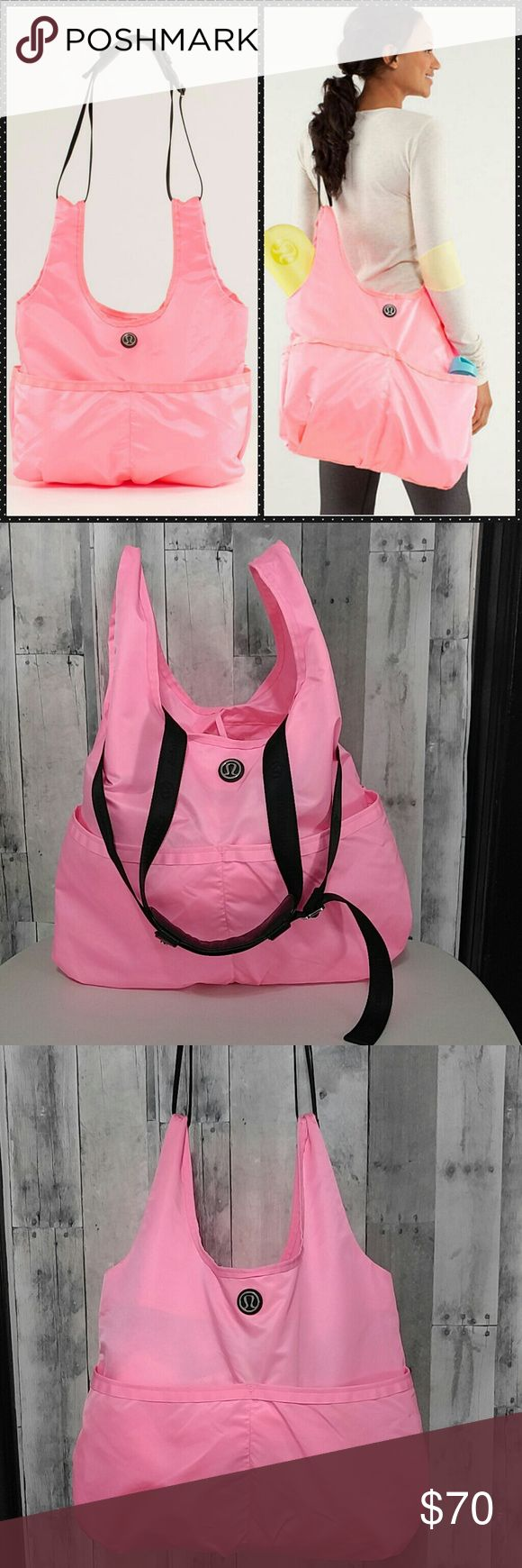 """Pink Lululemon Savasana Yoga Workout Tote Bag Bright pink large lululemon savasana yoga bag! Has adjustable strap with logo on it, silver hardware and padded shoulder strap. Open on top with two ties. Has large flap zip pocket flap inside and two large front and two more back exterior pockets   Like New condition inside and out  20"""" wide  24"""" tall including the straps  Nylon with ribbon trim  Easy to store and light to carry   No trades please Bags Totes"""