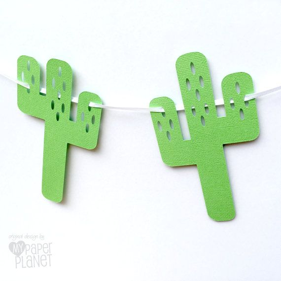 Green cactus banner. Bunting garland. Birthday party, wild west theme, custom decorations handmade by MyPaperPlanet