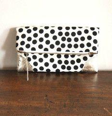 Black Polka Dots Fold Over Clutch Handbag #clutch #handbag #handmade #genuineleather #polkadots #foldoverclutch #black