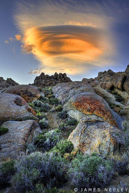 ~~Sierra Lenticular ~ lenticular cloud hangs over the Alabama Hills at sunset, California by James Neeley~~