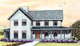 Elevation of Country Farmhouse House Plan 41013