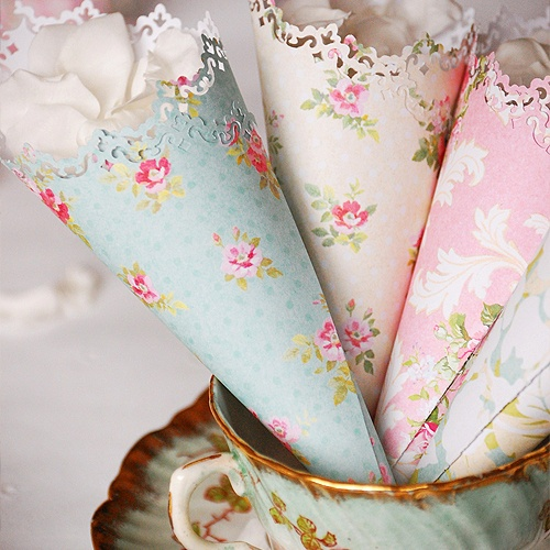 Vintage Inspired Confetti Cones - Charming and They Look Fairly Easy to Make...Do something like this with vintage handkerchief over heavy stock paper and modge-podge too!
