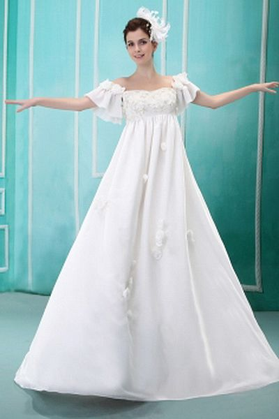 Hors Mariage Épaule Robes De Satin Blanc rdc0462 - Silhouette: Une Ligne-; Tissu: Satin, Embellissements: Perles, Fleurs, Longueur: Train Chapelle - Price: 160.17 - Link: http://www.robesdeceremonies.com/hors-mariage-epaule-robes-de-satin-blanc-rdc0462.ht